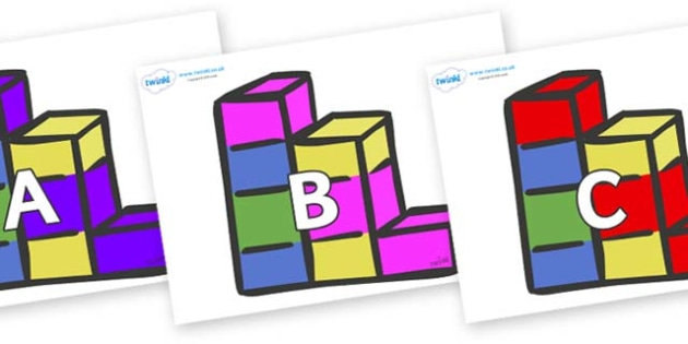 A-Z Alphabet on Building Blocks - A-Z, A4, display, Alphabet frieze, Display letters, Letter posters, A-Z letters, Alphabet flashcards