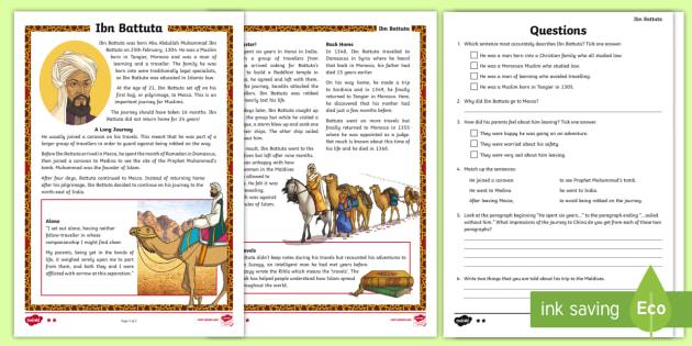 Ibn Battuta Differentiated Reading Comprehension Activity Cfe