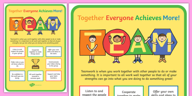 TEAM Large Motivational Poster KS2 - motivate, inspiration poster, team, together everyone achieves more