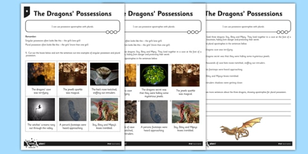 The Dragons' Possessions Differentiated Activity Sheet Pack - GPS, singular, plural, possession, belonging, worksheet