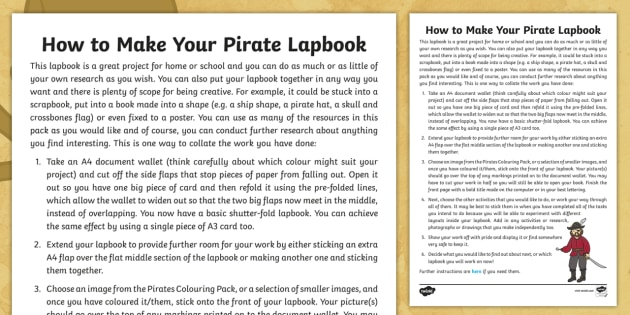 How To Make Your Pirates Lapbook Step By Step Instructions