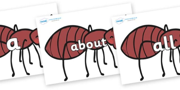 100 High Frequency Words on Ants - High frequency words, hfw, DfES Letters and Sounds, Letters and Sounds, display words