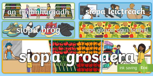 Siopaí Display Banner - Gaeilge - Siopadóireacht, Irish,shopping, shops, siopa, siopaí