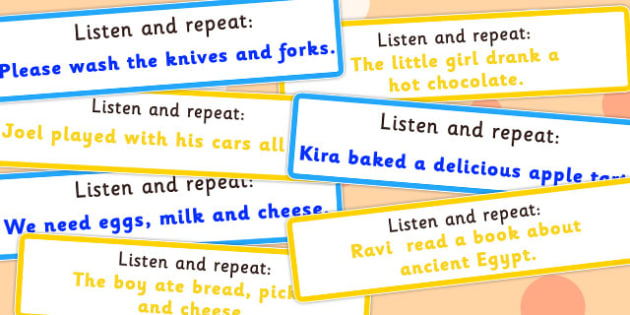 Listen and Repeat 6-7 Word Length Sentence Cards Set 2 - listen