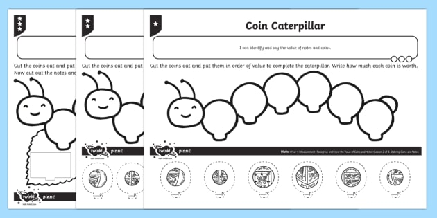 coin caterpillar differentiated worksheet activity sheets. Black Bedroom Furniture Sets. Home Design Ideas