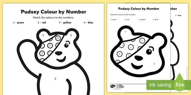 BBC Children in Need Pudsey Colour by Number