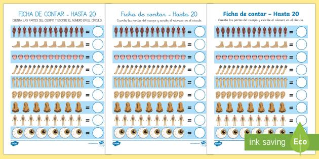 Ficha: Contar hasta 20 - Mi cuerpo - Mi cuerpo, proyecto, conocimiento de mí mismo, contar, infantil, números, Spanish