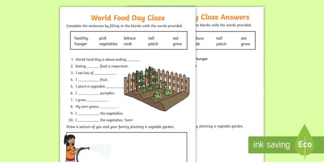 World Food Day Cloze Worksheet - reading, comprehension ...
