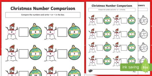 Christmas Themed Up to 10 Number Comparison Activity Sheet