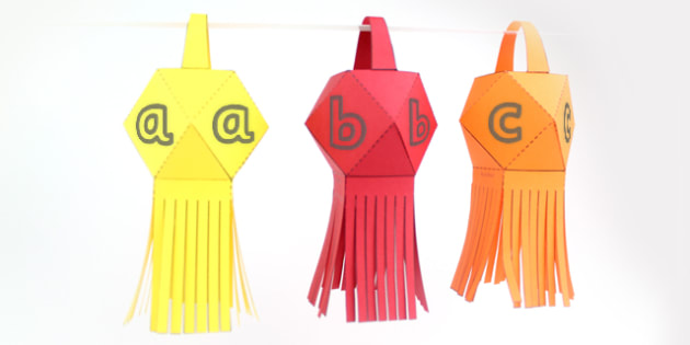 Paper Square Diwali Lantern Alphabet - celebrations, crafts, DT