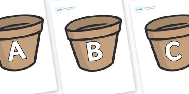 A-Z Alphabet on Flower Pots (Plain) - A-Z, A4, display, Alphabet frieze, Display letters, Letter posters, A-Z letters, Alphabet flashcards
