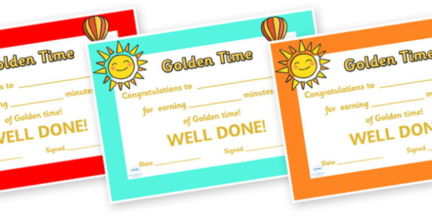 Golden Time Minutes Certificates - golden time certificate, golden time, golden time award certificate, golden time reward certificate, awards