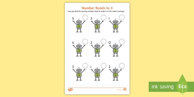 Number Bonds to 5 on Robots Worksheet / Worksheet - number