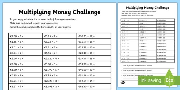 Multiplying Money Challenge Worksheet - maths, money ...