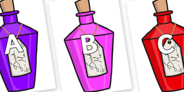 A-Z Alphabet on Drink Me Bottles - A-Z, A4, display, Alphabet frieze, Display letters, Letter posters, A-Z letters, Alphabet flashcards