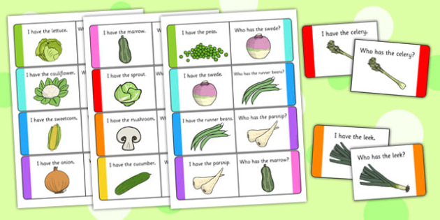 Vegetable Loop Cards - vegetable, loop cards, loop, cards, activity