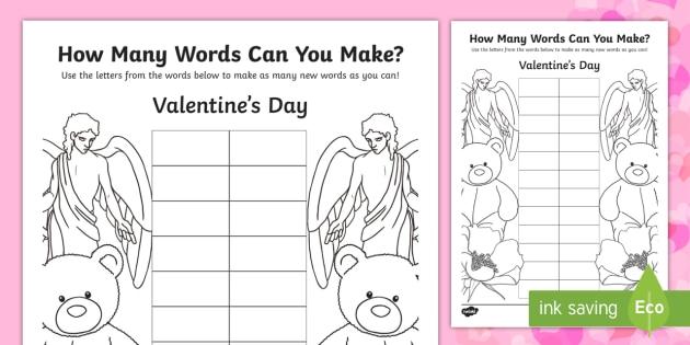 How Many Words? Valentine's Day Writing Worksheet / Worksheet ...