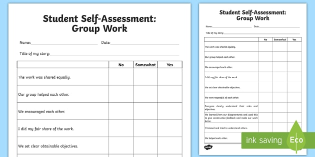 Self Assessment Group Work Worksheet  Activity Sheet