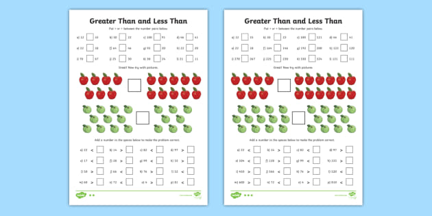 Greater Than And Less Than Worksheets Differentiated