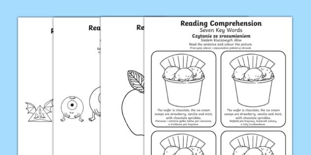 Reading Comprehension Seven Key Words Worksheet / Activity Sheets Polish Translation - SEN/SALT, reading, inference, information, speech, language, instructions, colour, colouring, worksheet