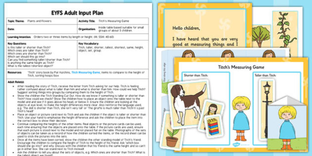 EYFS Measuring Game to Support Teaching Titch Adult Input Plan and Resource Pack