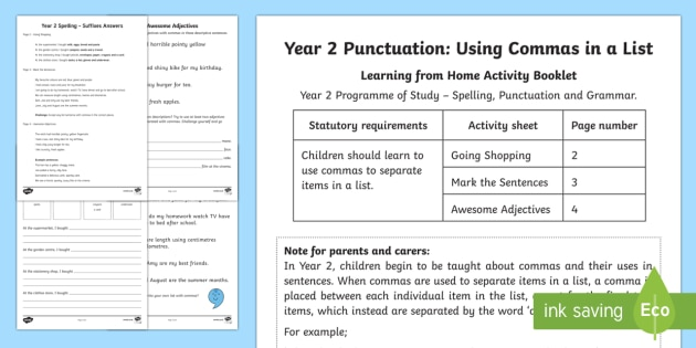 Year 2 Punctuation: Commas in a List Activity Booklet - Year 2, spelling,commas, list, punctuation, SPaG, GPS, comma, Y2, home, activity, booklet, home lear