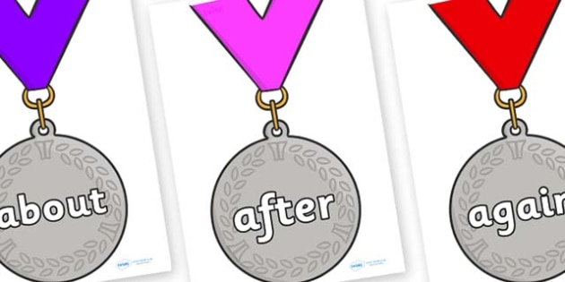 KS1 Keywords on Silver Medals - KS1, CLL, Communication language and literacy, Display, Key words, high frequency words, foundation stage literacy, DfES Letters and Sounds, Letters and Sounds, spelling