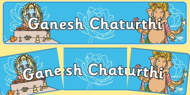 Ganesh Chaturthi Display Banner - Banner, display, Diwali, religion, hindu, hanoman, rangoli, sita, ravana, pooja thali, rama, lakshmi, golden deer, diva lamp, sweets, new year, mendhi, fireworks, party, food