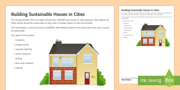 Building Sustainable Housing Worksheet / Activity Sheet - development houses cities towns