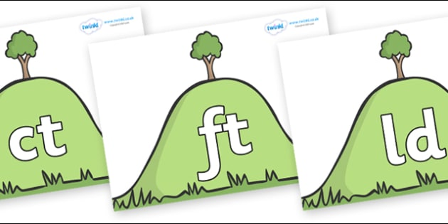 Final Letter Blends on Hills - Final Letters, final letter, letter blend, letter blends, consonant, consonants, digraph, trigraph, literacy, alphabet, letters, foundation stage literacy