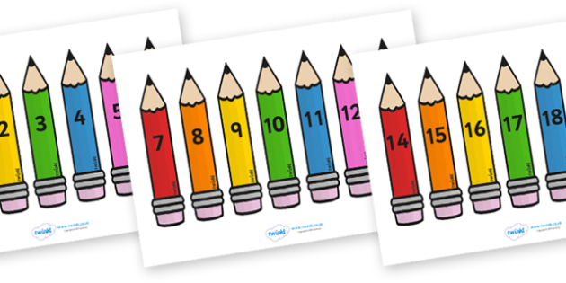 Free Numbers 0 20 On Pencils Pencils Pencils Colour Foundation