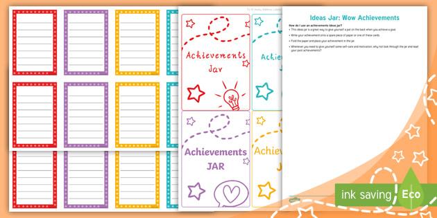 Ideas Jar Wow Achievements Teacher Made