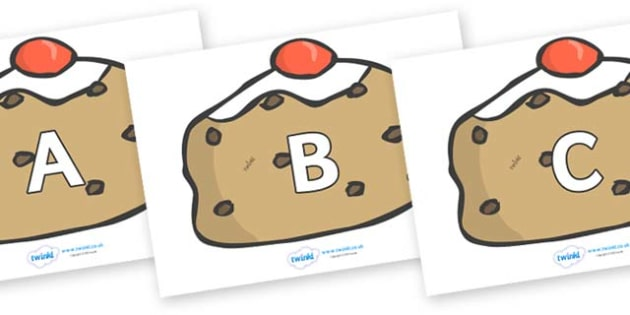 A-Z Alphabet on Buns - A-Z, A4, display, Alphabet frieze, Display letters, Letter posters, A-Z letters, Alphabet flashcards