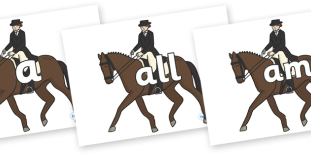 Foundation Stage 2 Keywords on Equestrian (Horses) - FS2, CLL, keywords, Communication language and literacy,  Display, Key words, high frequency words, foundation stage literacy, DfES Letters and Sounds, Letters and Sounds, spelling