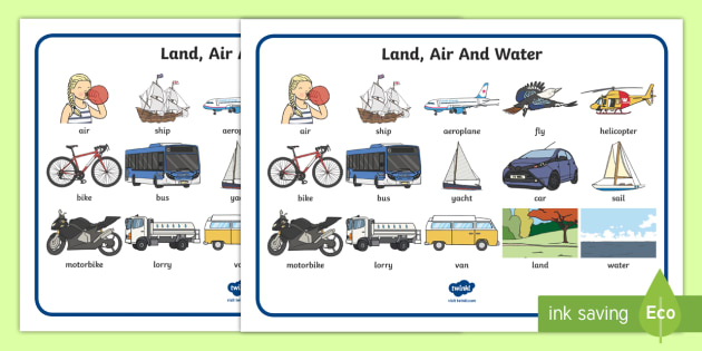 Land Air And Water Transport Vocabulary Mat