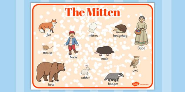 The Mitten Word Mat - the mitten, story, word mat, mitten, warm