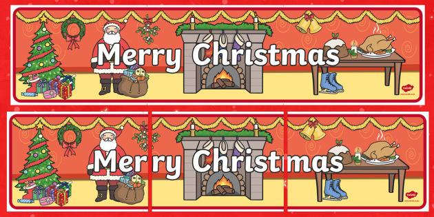 Merry Christmas Display Banner - merry christmas, display banner, banner, banner for display, classroom display, header, display header, themed banner