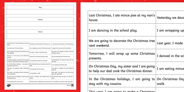 Christmas Verbs - Past, Present and Future Sorting Cards