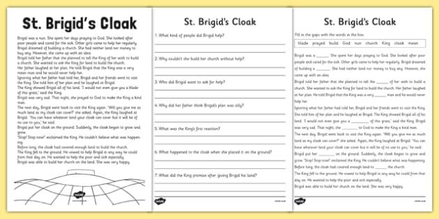 Saint Brigid's Cloak Story and Worksheets - saint brigid, irish history, ireland, saint, patron, worksheets, story sheet