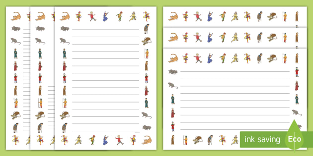The Pied Piper Page Borders - Pied Piper, story, children, rats, Hamelin, pipes, cats, page border, border, writing template, writing aid, writing, cave, villagers, mountain, town, money, story book