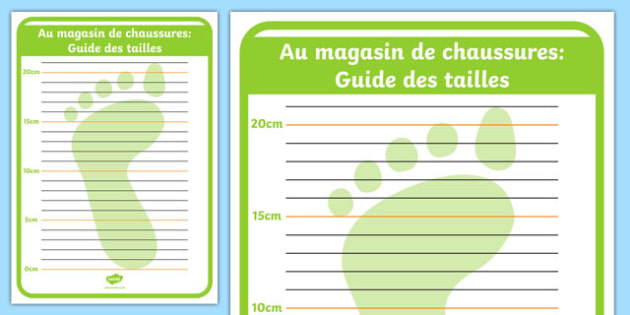 Au magasin de chaussures: Guide des tailles Shoe Shop Role Play Foot Measuring Chart French - french, Shoe shop, shoes, role play, shop, trainers, display, poster, shoe box, labels, measuring chart, word cards