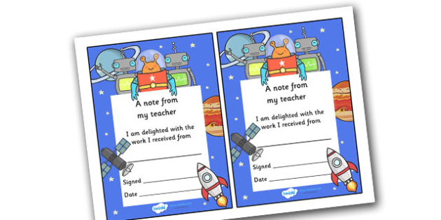 Note From Teacher Delighted With Work (Space Themed) - note from teacher delighted with work, delighted with work, note from teacher, notes, praise, comment, note, teacher, teacher's, parents, delighted, work, space themed, space, themed