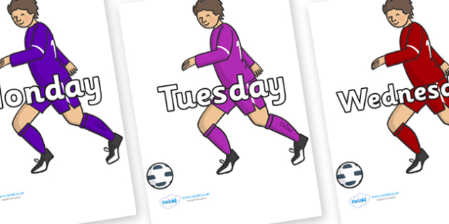 Days of the Week on Football Players - Days of the Week, Weeks poster, week, display, poster, frieze, Days, Day, Monday, Tuesday, Wednesday, Thursday, Friday, Saturday, Sunday