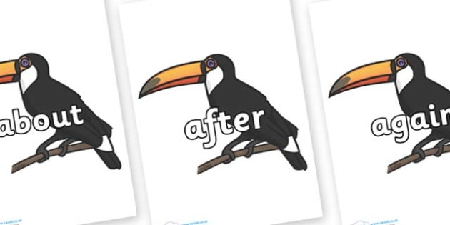 KS1 Keywords on Toucan - KS1, CLL, Communication language and literacy, Display, Key words, high frequency words, foundation stage literacy, DfES Letters and Sounds, Letters and Sounds, spelling
