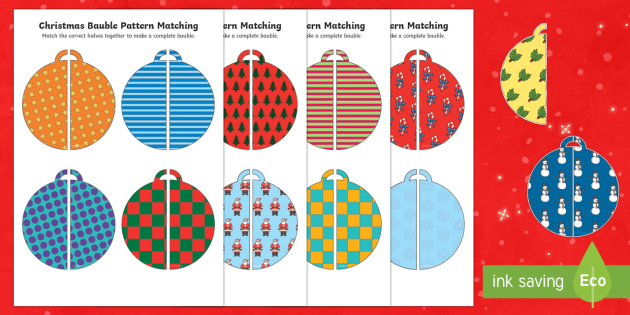 Christmas Bauble Pattern Matching Activity