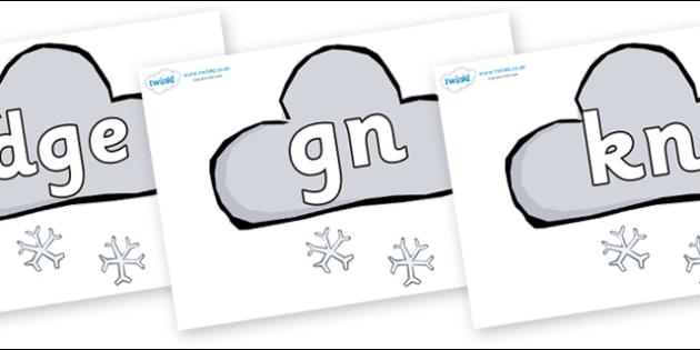 Silent Letters on Weather Symbols (Snow) - Silent Letters, silent letter, letter blend, consonant, consonants, digraph, trigraph, A-Z letters, literacy, alphabet, letters, alternative sounds