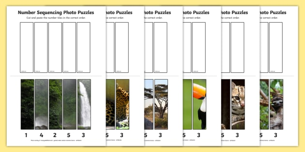 Rainforest-Themed Number Sequencing Photo Puzzles - jungle, games