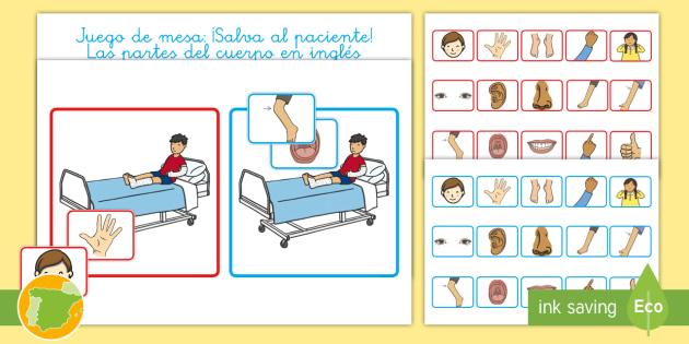 A1 Juego De Mesa Salva Al Paciente Las Partes Del Cuerpo En Ingles