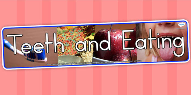 Teeth and Eating Photo Display Banner - health, food, header