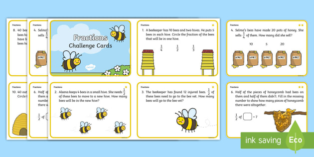 Year 1 Bee Themed Differentiated Fractions Challenge Cards